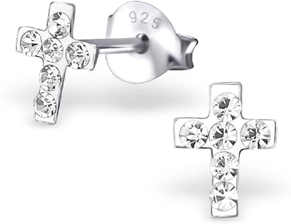 ICYROSE 925 Sterling Silver Small Tiny White Crystal Cross Ear Studs 19444
