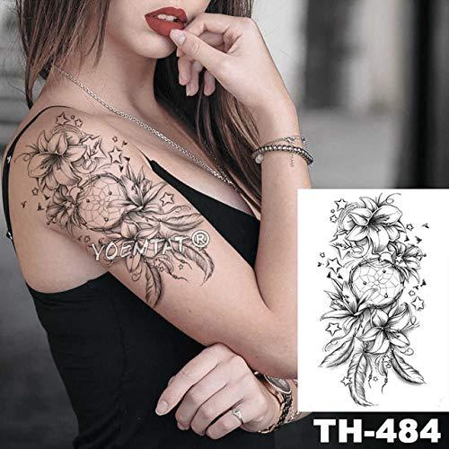 Etiqueta engomada del tatuaje a prueba de agua Sketch Flower Peony ...