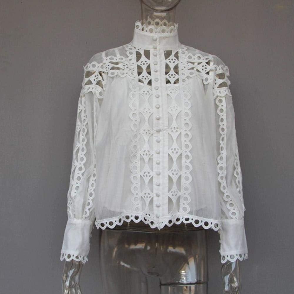 LanLan Camisas para Mujer Blusa Cuello Alto Manga Larga Ahuecado ...