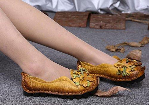Soojun Kvinners Skinn Uformell Loafer Sko Slip-on Leiligheter Med Blomst Stil En Gul