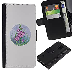 All Phone Most Case / Oferta Especial Cáscara Funda de cuero Monedero Cubierta de proteccion Caso / Wallet Case for Samsung Galaxy S5 V SM-G900 // Card Flowers Pastel Drawing