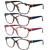 4 Pairs High Magnification Power Womens Reading Glasses - Cat Eye Readers +6.00