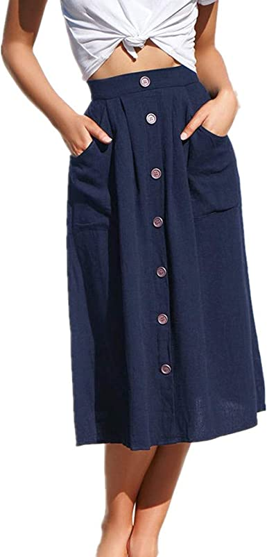 Hibote Falda Mujer Largas Suave Cómodo Falda de Lino Algodón Faldas Cintura Alta Midi Falda de la Playa S-XL: Amazon.es: Ropa y accesorios