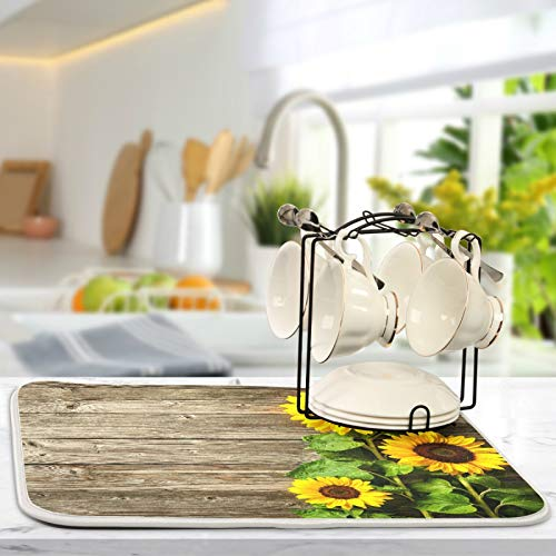 Qilmy Sunflower Dish Mat Water Absorption Tableware Drying Mat for Kitchen Countertop Home Decoration, 16 x 18 Inch Non Slip Dish Mats, Heat Resistant Countertop Protection