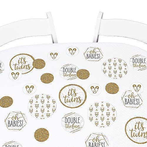 Big Dot of Happiness It's Twins - Gold Twins Baby Shower Giant Circle Confetti - Party Decorations - Large Confetti 27 Count]()