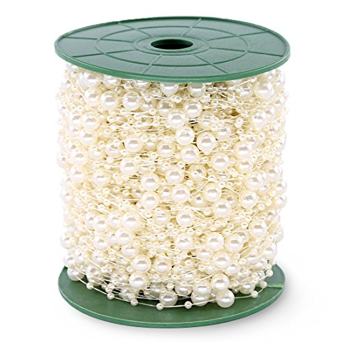 - Hilitchi 200Feet Roll Ivory Pearl String Party Garland Wedding Centerpieces Bridal Bouquet Crafts Decoration (Pearl)