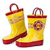 hiitater Boys Waterproof Rubber Rain Boot with Easy Pull On Handles Yellow/Fire Mark 9/10 M US Toddler