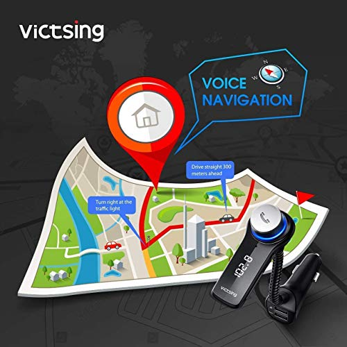 VicTsing Bluetooth FM Transmitter for Car, Wireless in-Car Radio Adapter, Music MP3 Player Car Kit with Power Off, Stereo Sound, Hands-Free Calls and 2 USB Ports Support USB Flash Drive