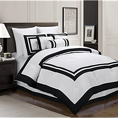 Chezmoi Collection 7 Piece Square Pattern Hotel Duvet Cover Bedding Set, King, White/Black