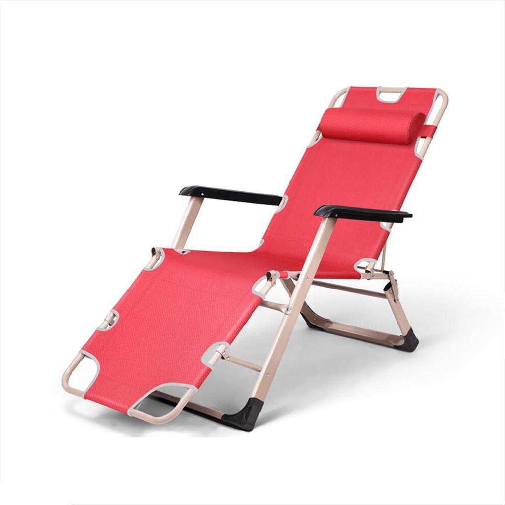QZ HOME Stühle, Garten Liegestühle Recliners Liegestuhl Gartenstühle All Weather Textoline Multi-Angle Collapsible Kopfstütze (Farbe : ROT)