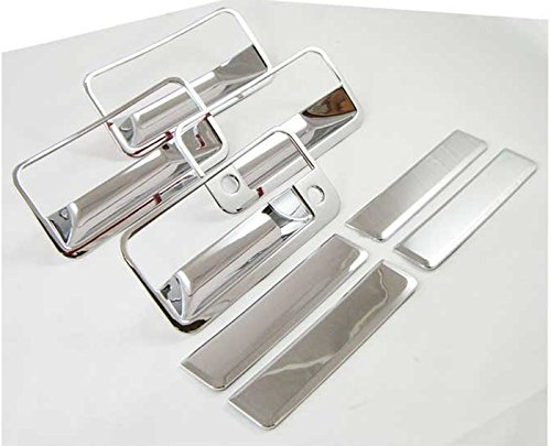 MaxMate Fits 92-99 GMC Yukon/88-98 CK Pickup/88-98 Chevy C10 Pickup/92-95 S10/S10 Blazer/92-99 Chevy Suburban/95-99 Tahoe Chrome 4 Doors Handle Cover With Passenger Side Keyhole