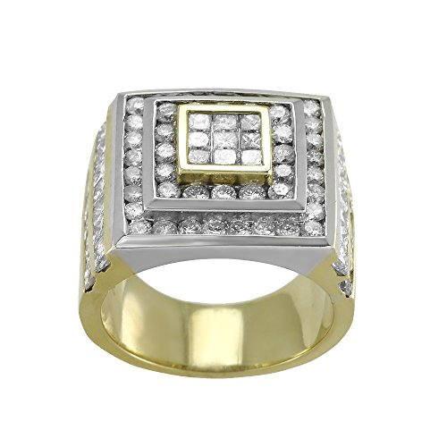 Mens Diamond Ring, 18KT White & Yellow Gold Mens Diamond Ring, 4.75 CT -