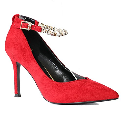 Khskx Hermosos El Zapatos Y De Altotreinta Profundidad Otoño hebilla Cuatrode Novia Gules Color La Boda Tacon Rojo Diamante Primavera Señaló rqfrSYw