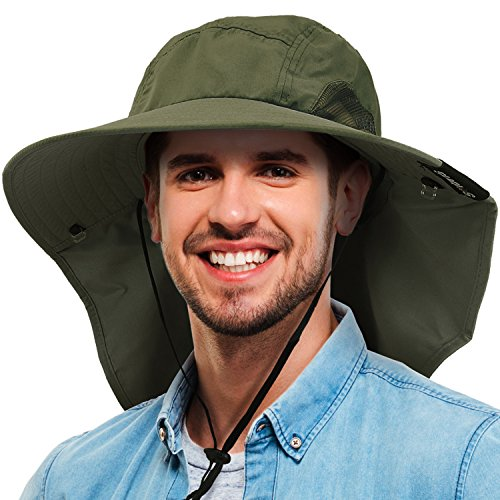 4dc22ea4ec9 Tirrinia Mens Wide Brim Sun Hat with Neck Flap Fishing Safari Cap for  Outdoor Hiking Camping