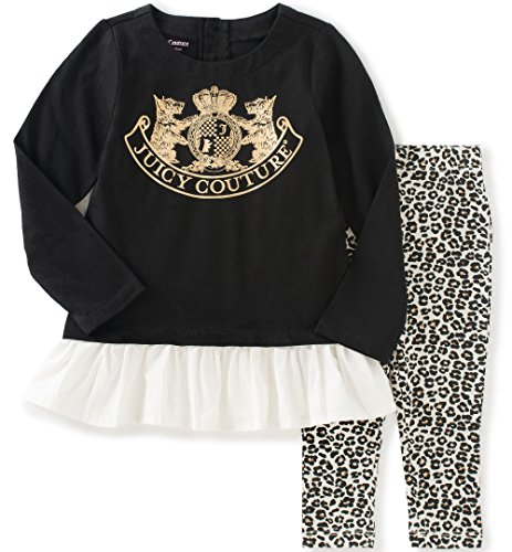 Juicy Couture Cotton Tunic (Juicy Couture Little Girls' Toddler Tunic with Ruffle and Animal Print Pant Set, Black,)