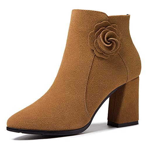 HOESCZS Boots Martin Boots and Winter Fashion Thick Warm Wool Scrub Leather Pointed Thick with Short Boots Female High Heel Leather Martin Boots