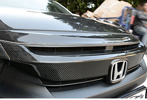 Carbon Fiber For Honda 10th Generation Civic FC Front Grill Cover Stick on Type (Rear Skirt Set)