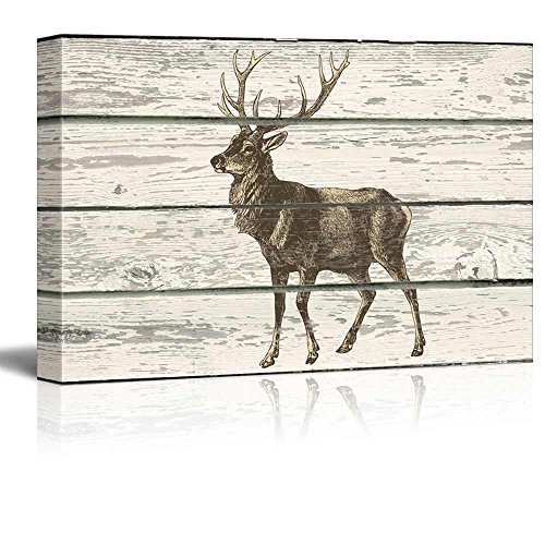wall26 - Mule Deer Standing Alone - Canvas Art Home Decor - 24x36 inches