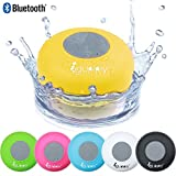Guppy Water Resistant Bluetooth Shower Speaker Wireless Portable Audio Kid-friendly Built-in Control Buttons Powerful Suction Cup w/Safety Lanyard for Bath Pool Car Beach Indoor/Outdoor (Yellow)