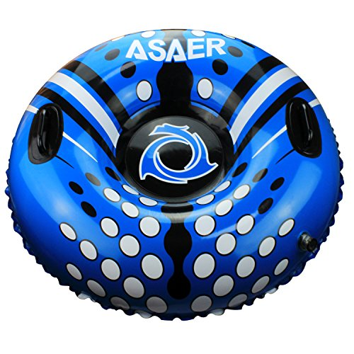 ASAER Snow Tube - Air Tube 39 Inch Inflatable Snow/Sled with Rapid Valves - Aqua Leisure Winter Inflatable Round Snow Tube with vinyl tube repair kit - With thickening bottom of 50mm!!(Blue)