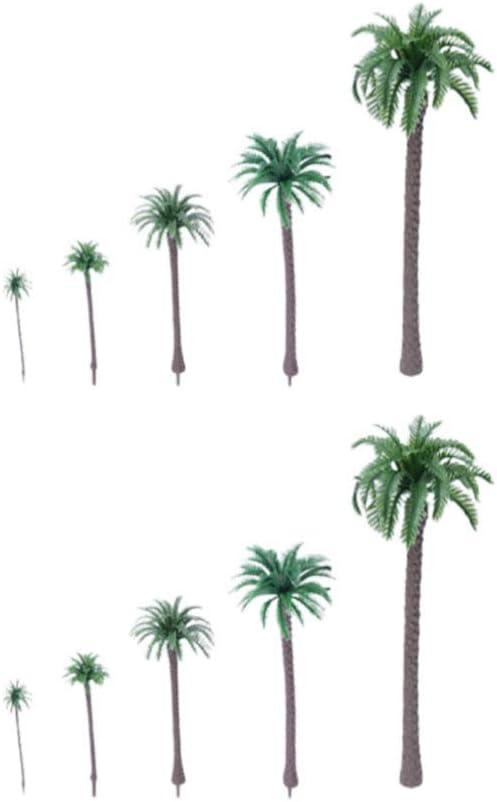 SUPVOX Mini Planta de Palmera Artificial árbol de plástico Modelo de árbol de plástico Miniatura Figura para Micro Paisaje Planta Maceta Hada jardín Ornamento 10 Piezas