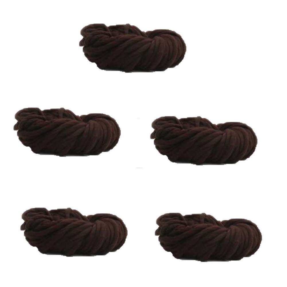 指編みのための分厚い糸かさばる放浪糸、編み物フェルト、ラグ毛布や工芸品、5かせを作る,Coffee B07K7P6TB1 Coffee