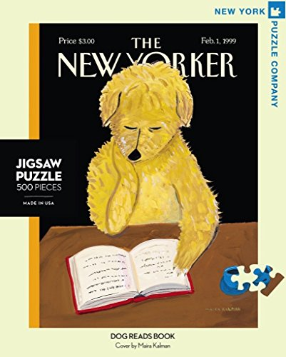New York Puzzle Company - New Yorker Dog Reads Book - 500 Piece Jigsaw Puzzle