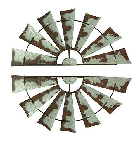 Rusty Weathered Metal Half Windmill Wall Hangings Set of 2