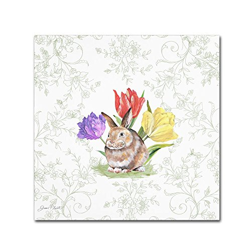 Bunnies In The Tulips 5 by Jean Plout flower Canvas Wall Art