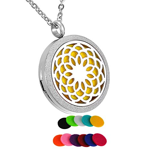 HooAMI Aromatherapy Essential Oil Diffuser Necklace - Stainless Steel Sunflower Locket (Stainless Steel Sunflower)