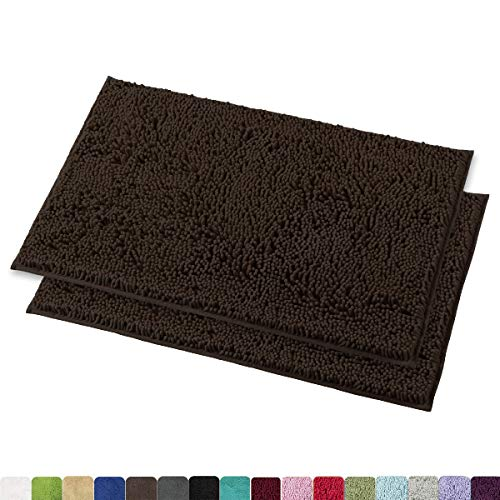 MAYSHINE Bath Mats for Bathroom Rugs Non Slip Machine Washable Soft Microfiber 2 Pack (20×32 Inches, Brown)