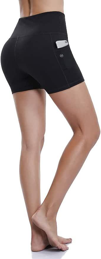 (Small, Shorts-black) - ALONG FIT Yoga Pants Running Leggings Women Pocket Leggings 4 Way Stretch Ultra Soft Lightweight