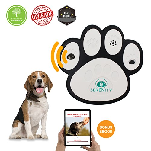 Serenity (Upgrade Model) Ultrasonic Bark Control Device-Anti - Barking Training Tool Safe Deterrent Silencer for Yard - Outdoor Sonic Control For Small/Medium/Large Dogs - Up To 50 Feet ()