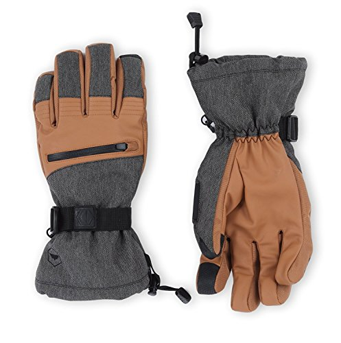 The Slugger Ski & Snowboard Glove - Waterproof Gloves with Synthetic Leather Shell Construction & Waterproof Zipper Pocket - Designed for Skiing, Snowboarding, Shoveling - Touchscreen Compatible from Tough Outdoors