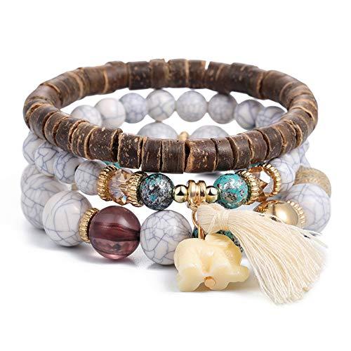 SINOBI 3 Wrap Bracelets for Women Boho Multicolor Stretch Beaded Stackable Bracelets Wood Elephant Charm Bangle