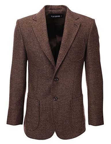 FLATSEVEN Mens Herringbone Wool Blazer Jacket with Elbow Patches (BJ902) Brown, - Coat Tweed Herringbone