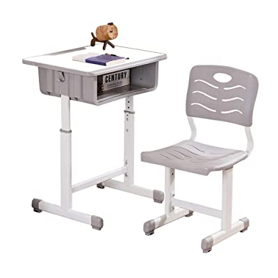 Kids Desk and Chair Set Height Adjustable Ergonomic Children Sturdy Table, Childs Study School Desk Kids Art Writing Desk (White Paint Desktop): Kitchen & Dining
