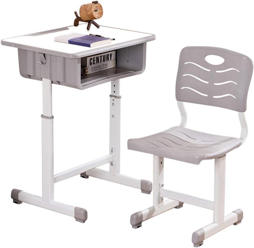 Kids Desk and Chair Set Height Adjustable Ergonomic Children Sturdy Table, Childs Study School Desk Kids Art Writing Desk (White Paint Desktop)