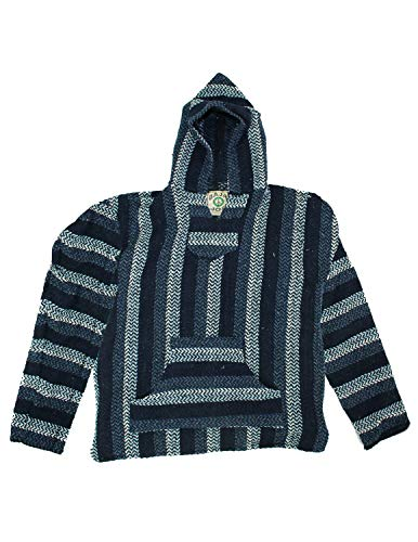 Baja Joe Eco-Friendly Woven Striped Pullover Baja Hoodie Navy Large