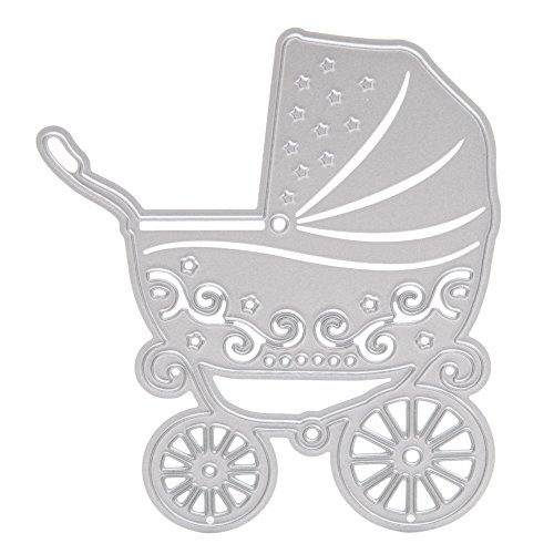 Whitelotous Cutting Dies Stencil Metal Mould for DIY Scrapbook Album Paper Card (Baby Carriage)