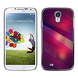 FECELL CITY // Duro Aluminio Pegatina PC Caso decorativo Funda Carcasa de Protección para Samsung Galaxy S4 I9500 // Modern Art Shapes Lines Purple Red