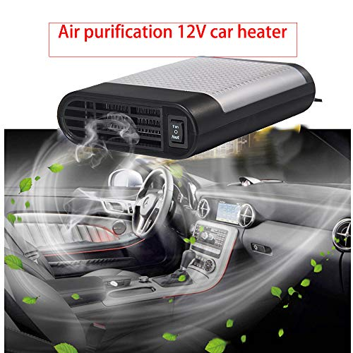 Heater Defroster - LTUPWF Portable Car Heater Fan Defroster with Air Purification 12V 150W Auto Car 30 Seconds Fast Heating Defrost Defogger Demister Vehicle Ceramic Heater Fan for Windshield (Gray)