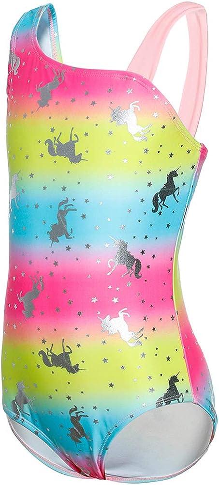 DUSISHIDAN Girls Swimming Costume Unicorn One Piece Swimsuit Sun Protection Summer Holiday Beach Wear Bathing Suits for Girls Age 6-14 Years
