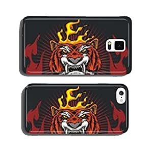 Tiger head hand and fire - vector illustration cell phone cover case iPhone6