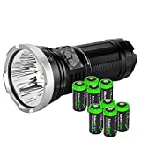 FENIX LD75C 4200 Lumen four color (White/Red/Blue/Green) CREE XM-L U2 LED Flashlight / Searchlight with eight EdisonBright CR123A batteries bundle