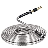 Greenbest Lightweight 304 Stainless Steel Garden Hose w/Aluminium Alloy Nozzle, Watering your Flowers with no Kinks. Dog chew resistant. 25, 50, 75 and 100 ft (100FT)