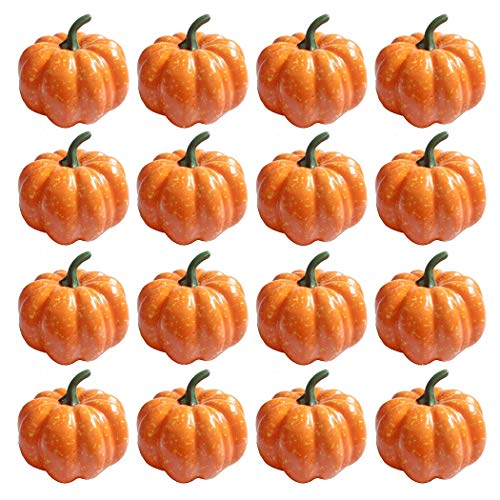 "StillCool Pumpkin Decorations 3"" (80mm) Mini Artificial Foam Pumpkins (16)"