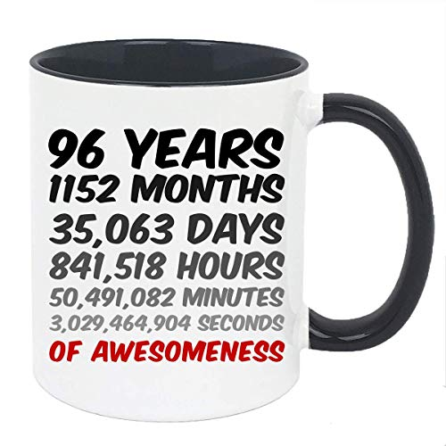 96th Birthday Mug Or Anniversary Gift, 96 Years Of Awesomeness Coffee Mug For Mum, Dad, Husband Or Wife (11oz Black Accent)
