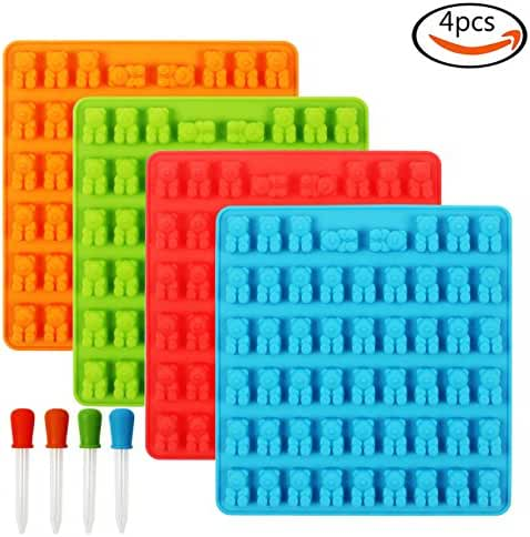 Outuxed 4 Pcs Silicone Gummy Bear Molds with 4 Droppers, 4 Colors