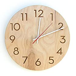 Uncommon Handmade Modern Wall Clock, Natural Birch